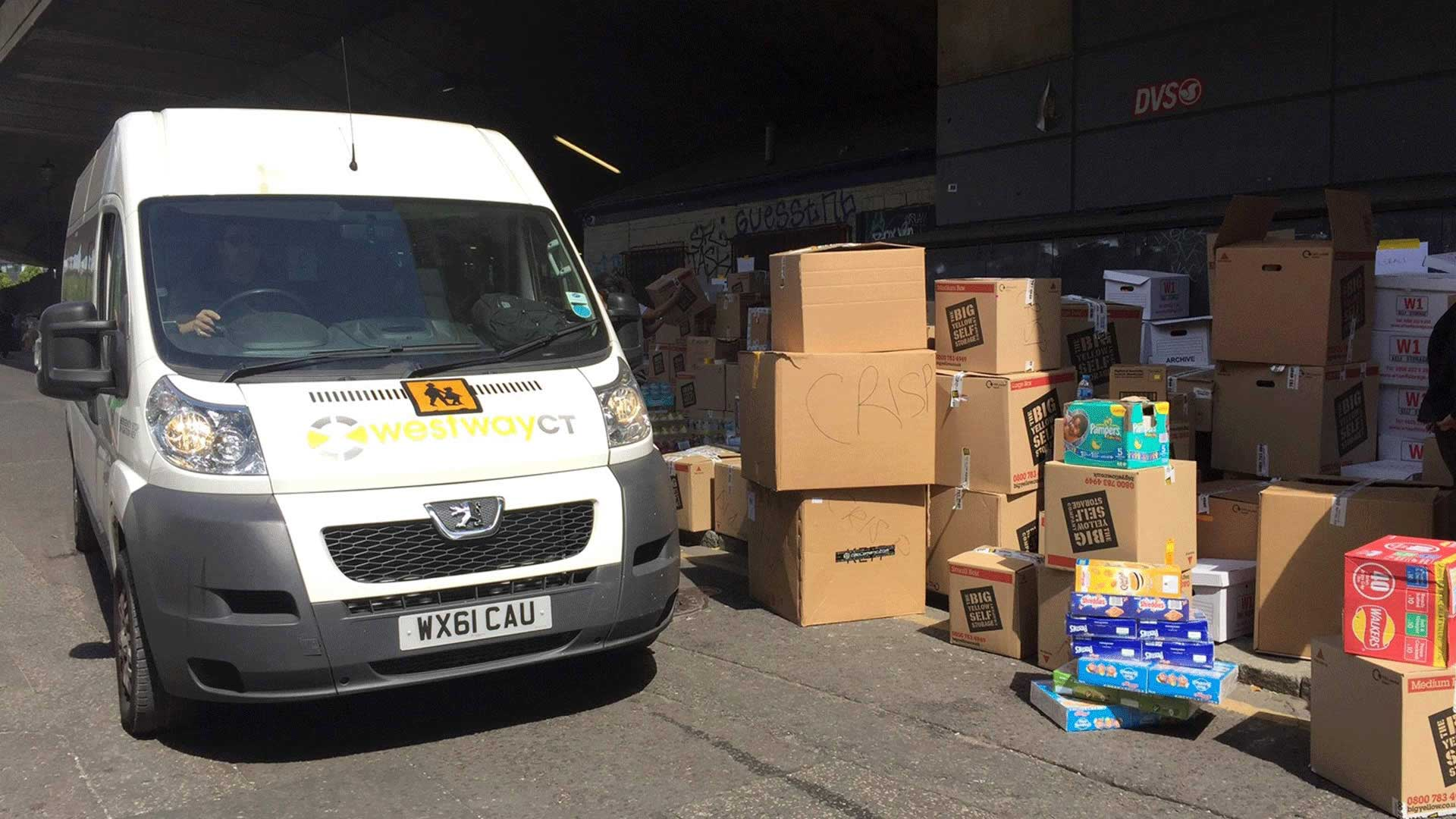 Westway CT van collecting donations for Grenfell victims