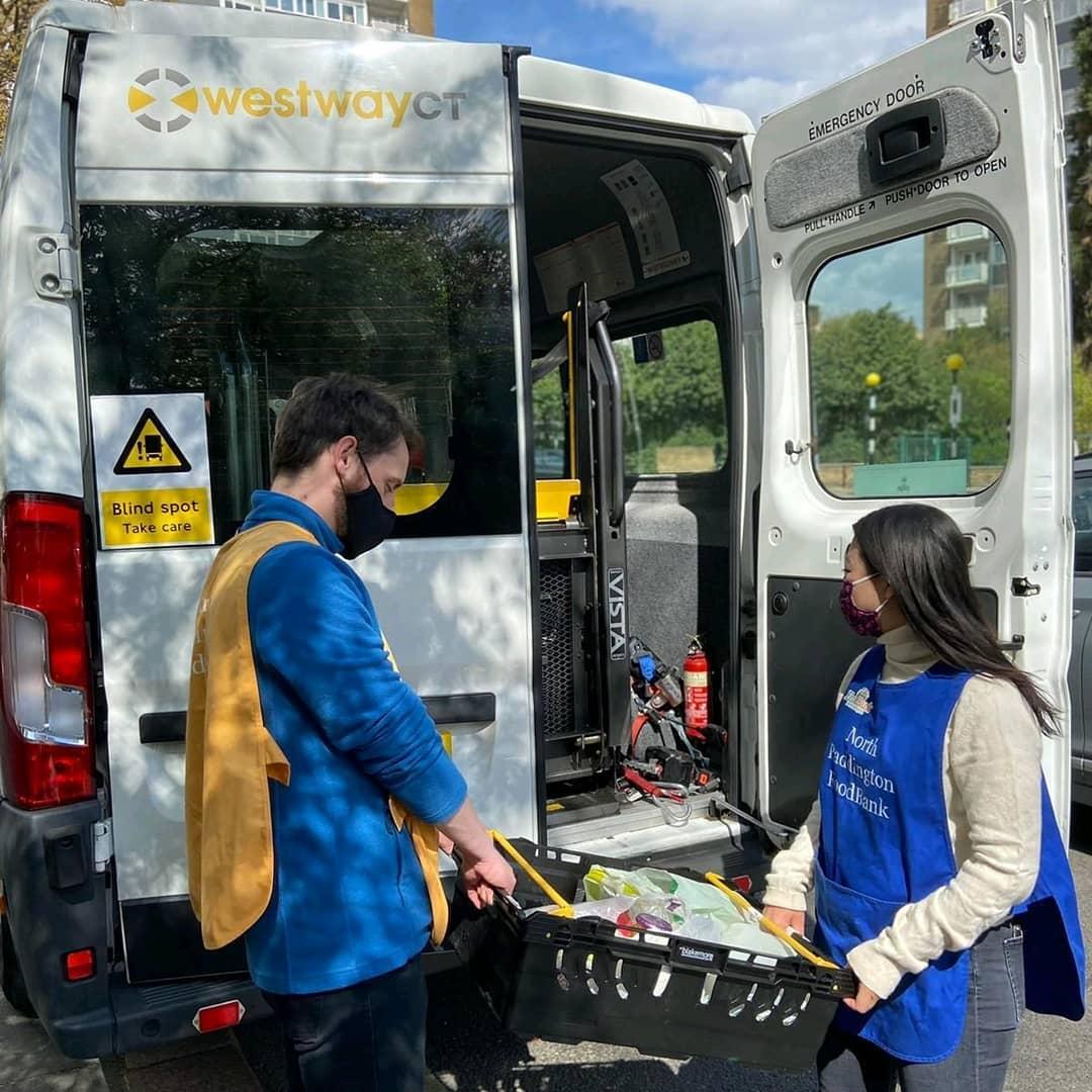 North Paddington Food Bank Volunteers Loading Food Parcels into a Westway CT Minibus