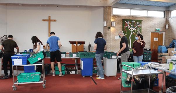 North Paddington Food Bank Volunteers Preparing Food Parcels
